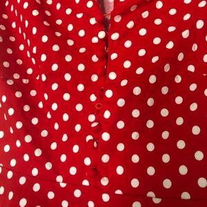 Vintage Dresses - Vintage Red and White Polka Dot Dress